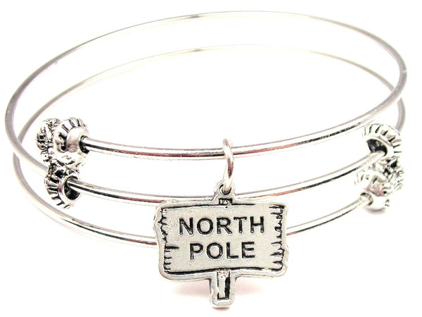 North Pole Sign Triple Style Expandable Bangle Bracelet