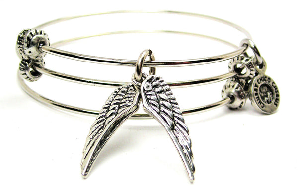 Pair Of Angel Wings Triple Style Expandable Bangle Bracelet