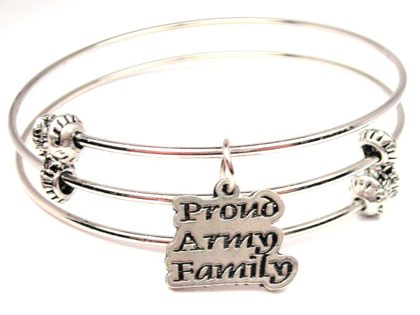 Proud Army Family Triple Style Expandable Bangle Bracelet
