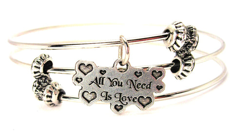 All You Need Is Love Triple Style Expandable Bangle Bracelet