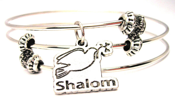 Shalom Dove Triple Style Expandable Bangle Bracelet