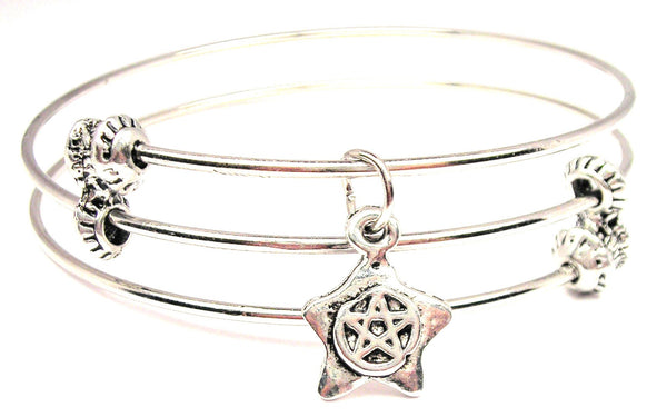 Star With Pentacle Triple Style Expandable Bangle Bracelet