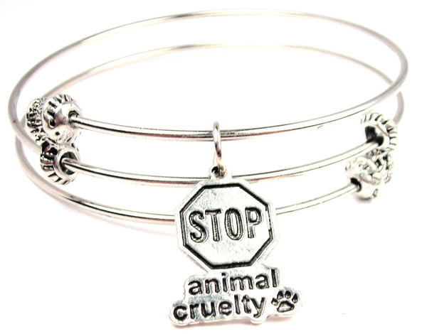 Stop Animal Cruelty Triple Style Expandable Bangle Bracelet