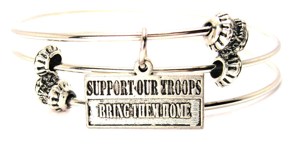 Support Our Troops Bring Them Home Triple Style Expandable Bangle Bracelet