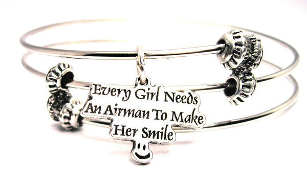 Every Girl Needs An Airman To Make Her Smile Triple Style Expandable Bangle Bracelet