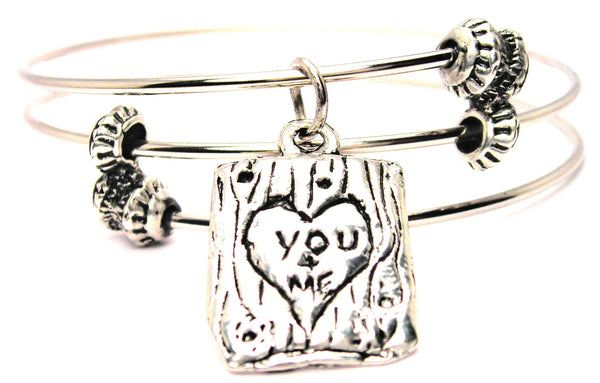 You And Me Carved In A Tree Triple Style Expandable Bangle Bracelet