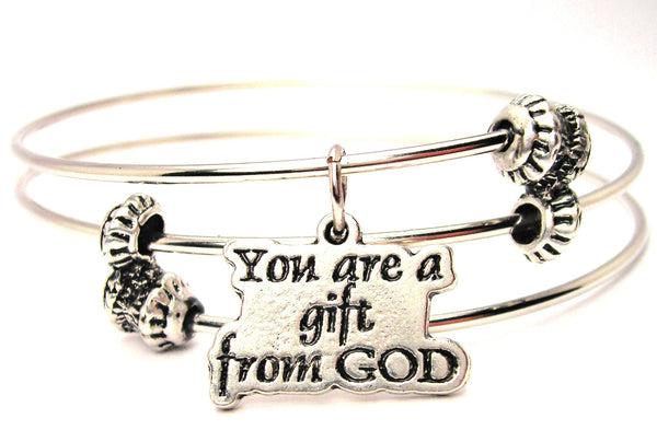 You Are A Gift From God Triple Style Expandable Bangle Bracelet