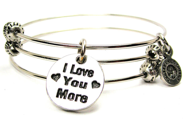 I Love You More Circle Triple Style Expandable Bangle Bracelet