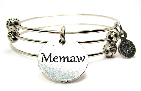 Memaw Triple Style Expandable Bangle Bracelet