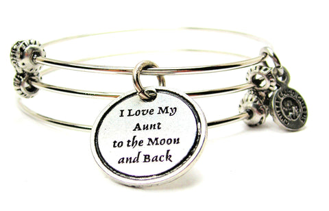I Love My Aunt To The Moon And Back Triple Style Expandable Bangle Bracelet