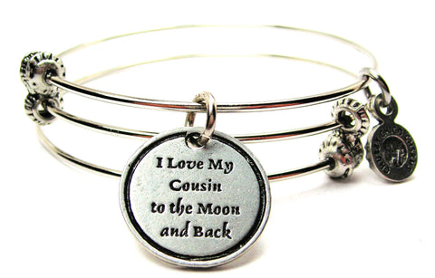 I Love My Cousin To The Moon And Back Triple Style Expandable Bangle Bracelet