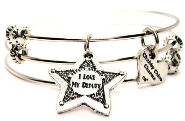 I Love My Deputy Triple Style Expandable Bangle Bracelet