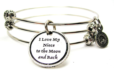 I Love My Niece To The Moon And Back Triple Style Expandable Bangle Bracelet