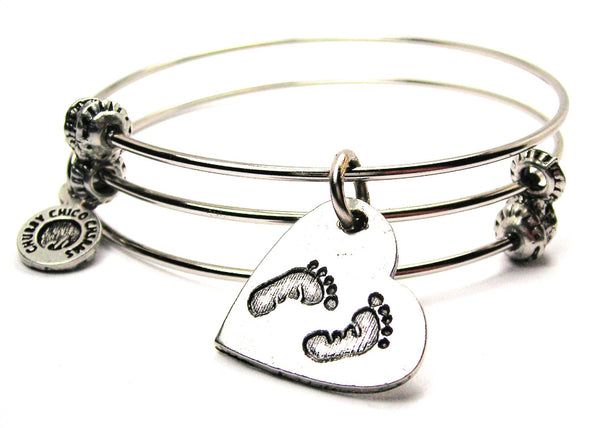 Baby Footprints On Your Heart Triple Style Expandable Bangle Bracelet