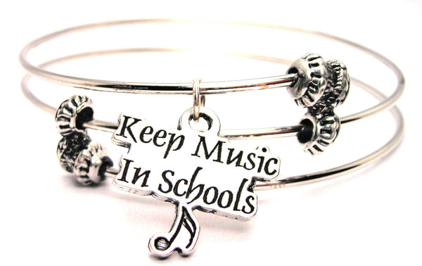 Keep Music In Schools Triple Style Expandable Bangle Bracelet