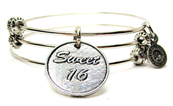 Sweet 16 Triple Style Expandable Bangle Bracelet
