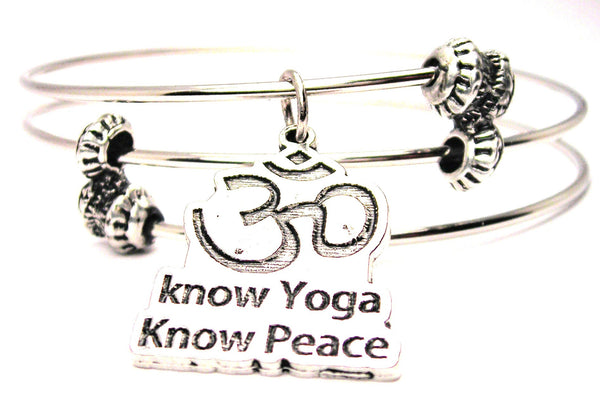 Know Yoga Know Peace Triple Style Expandable Bangle Bracelet