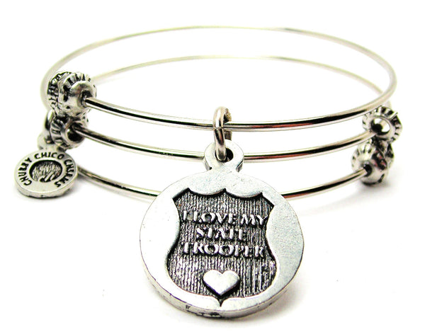 I Love My State Trooper Triple Style Expandable Bangle Bracelet