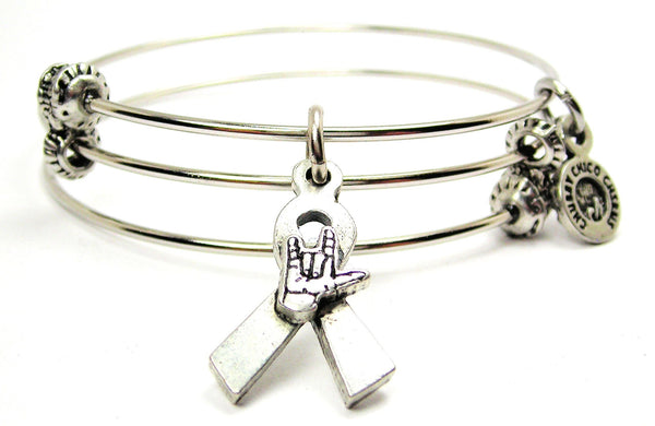 Deaf Awareness Ribbon Triple Style Expandable Bangle Bracelet