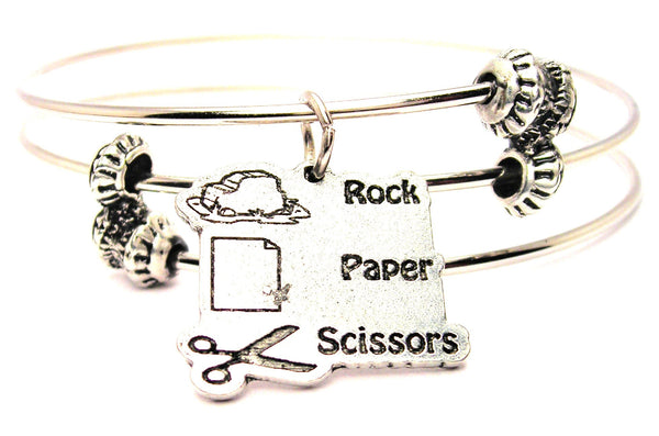 Rock Paper Scissors Triple Style Expandable Bangle Bracelet