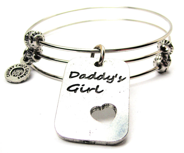 Daddy's Girl Dog Tag Triple Style Expandable Bangle Bracelet