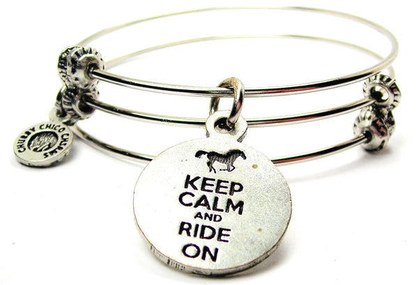 Keep Calm and Ride On Triple Style Expandable Bangle Bracelet