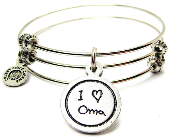 I Love Oma Child Handwriting Triple Style Expandable Bangle Bracelet