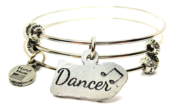 Dancer With Music Notes Triple Style Expandable Bangle Bracelet