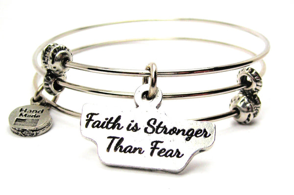 Faith Is Stronger Than Fear Triple Style Expandable Bangle Bracelet
