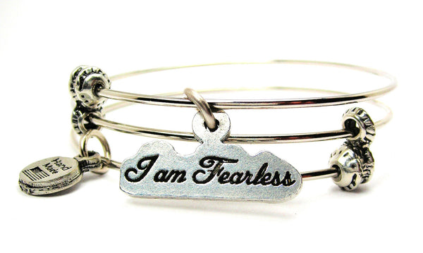 I Am Fearless Triple Style Expandable Bangle Bracelet