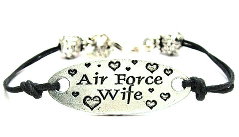 Air Force Wife Plate Black Cord Bracelet