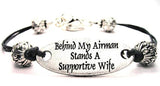 Behind My Airman Stands A Supportive Wife Plate Black Cord Bracelet