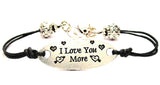 I Love You More Plate Black Cord Bracelet