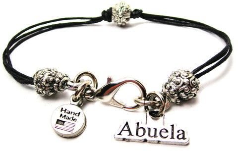 Abuela Grandmother In Spanish Beaded Black Cord Bracelet