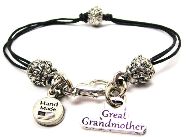 Great Grandmother Beaded Black Cord Bracelet