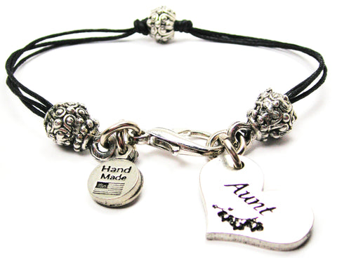 Aunt Heart Beaded Black Cord Bracelet
