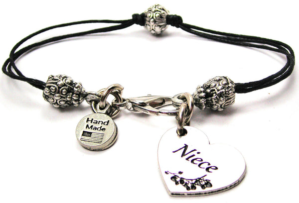 Niece Heart Beaded Black Cord Bracelet