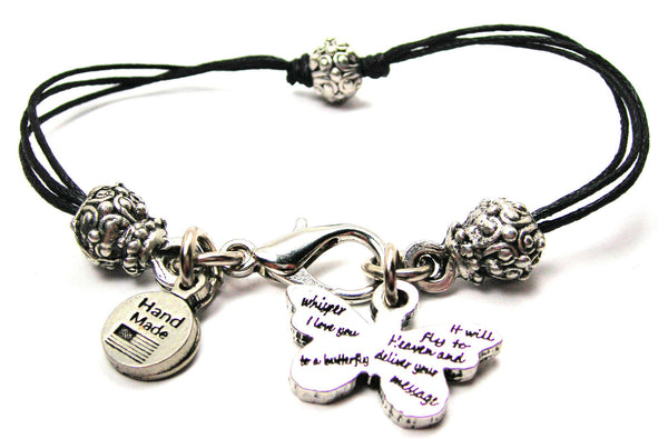 Whisper I Love You To A Butterfly It Will Fly To Heaven And Deliver Your Message Beaded Black Cord Bracelet