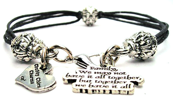 Family We May Not Have It All Together But Together We Have It All Beaded Black Cord Bracelet
