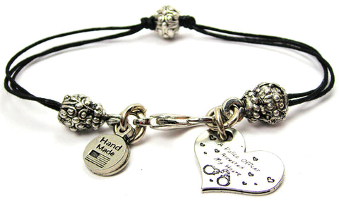 A Police Officer Arrested My Heart Beaded Black Cord Bracelet