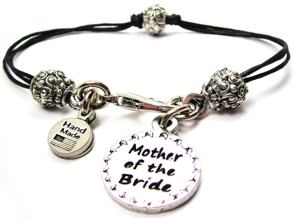Mother Of The Bride Circle Beaded Black Cord Bracelet