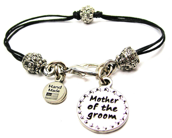 Mother Of The Groom Circle Beaded Black Cord Bracelet