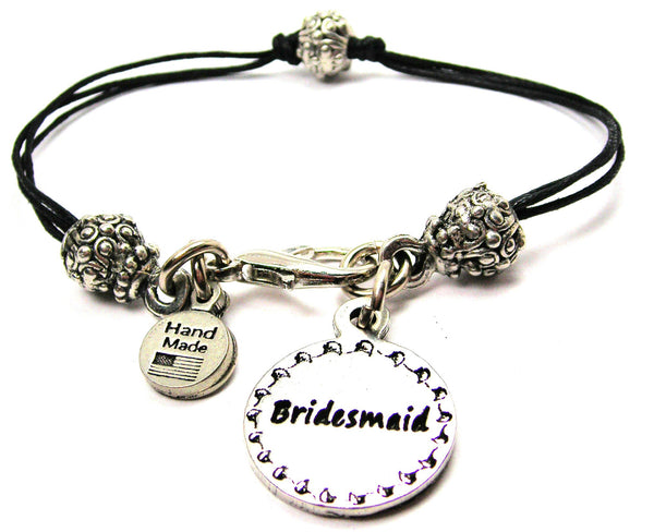Bridesmaid Circle Beaded Black Cord Bracelet