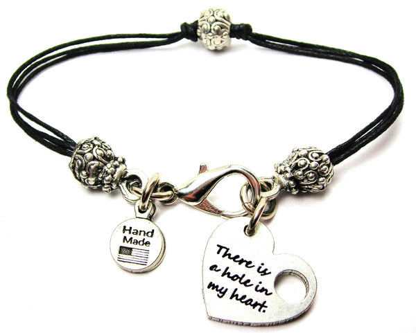 There Is A Hole In My Heart Beaded Black Cord Bracelet