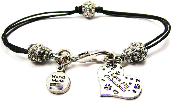 I Love My Chihuahua Heart Beaded Black Cord Bracelet