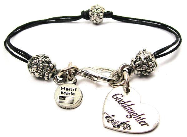 Goddaughter Heart Beaded Black Cord Bracelet