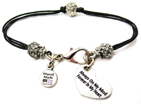 Always On My Mind Forever In My Heart Beaded Black Cord Bracelet