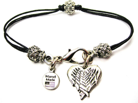Angel Wings Folded Into A Heart Shape Beaded Black Cord Bracelet