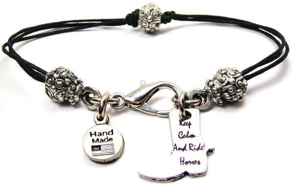Keep Calm And Ride On Beaded Black Cord Bracelet