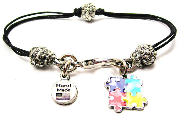 Autism Puzzle Pieces Painted Beaded Black Cord Bracelet